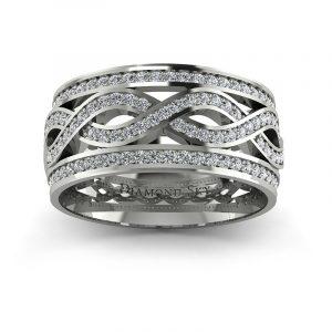 Olśniewające piękno - Obrączka ślubna Diamond Sky z białego złota z brylantami