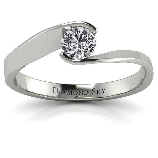 Diamentowy minimalizm - Pierścionek zaręczynowy z białego złota z diamentem