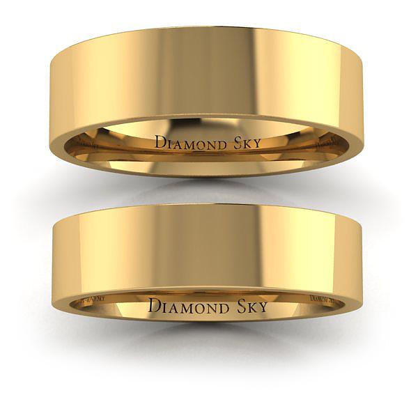 Po prostu piękno - Płaskie obrączki ślubne z żółtego złota, próba 585, 5mm, 6mm