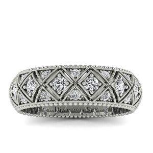 Wieczny blask - Ażurowa obrączka ślubna, Diamond Sky, białe złoto, diamenty