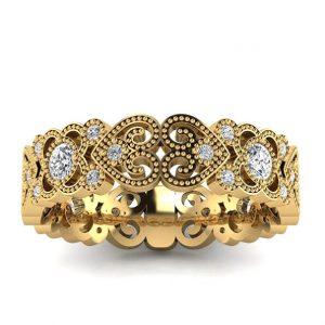 Wzorzyste piękno - Ażurowa obrączka ślubna Diamond Sky z żółtego złota z diamentami