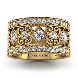 Wielkie piękno - Ażurowa obrączka Diamond Sky z żółtego złota z diamentami