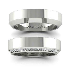 Diamentowy urok - Komplet obrączek Diamond Sky z palladu, brylanty