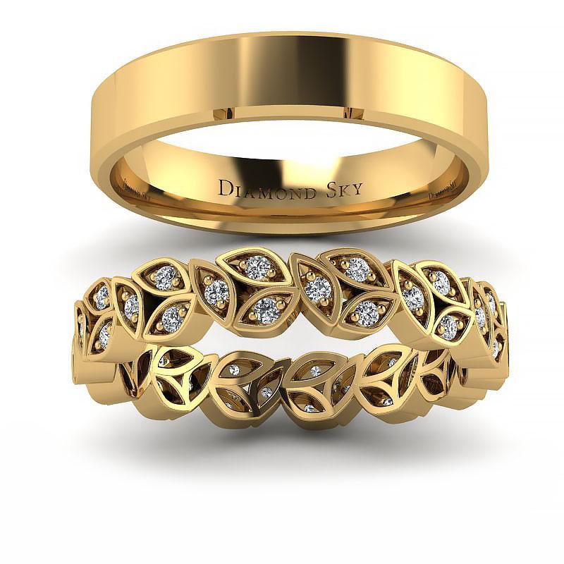 Komplet obrączek ślubnych z żółtego złota z brylantami