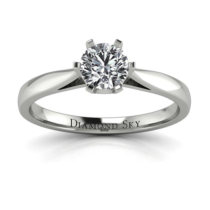 Diamentowy urok - Pierścionek zaręczynowy z białego złota z brylantem
