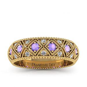 Wieczny blask - Obrączka ślubna z żółtego złota z tanzanitami i diamentami