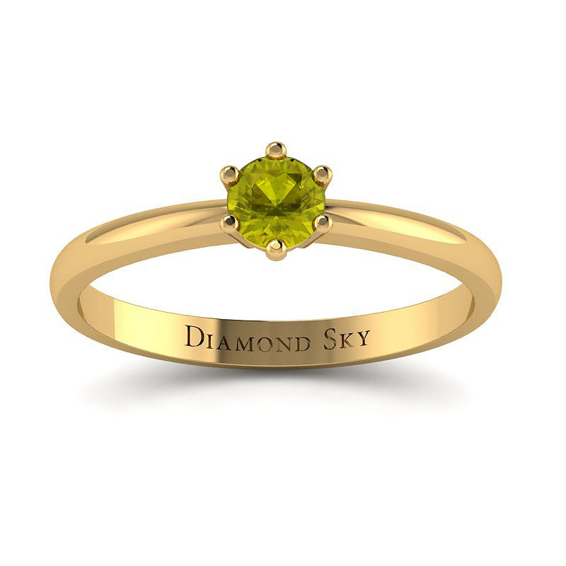 Klasyczny minimalizm - Pierścionek z żółtego złota z żółtym brylantem 0,23ct