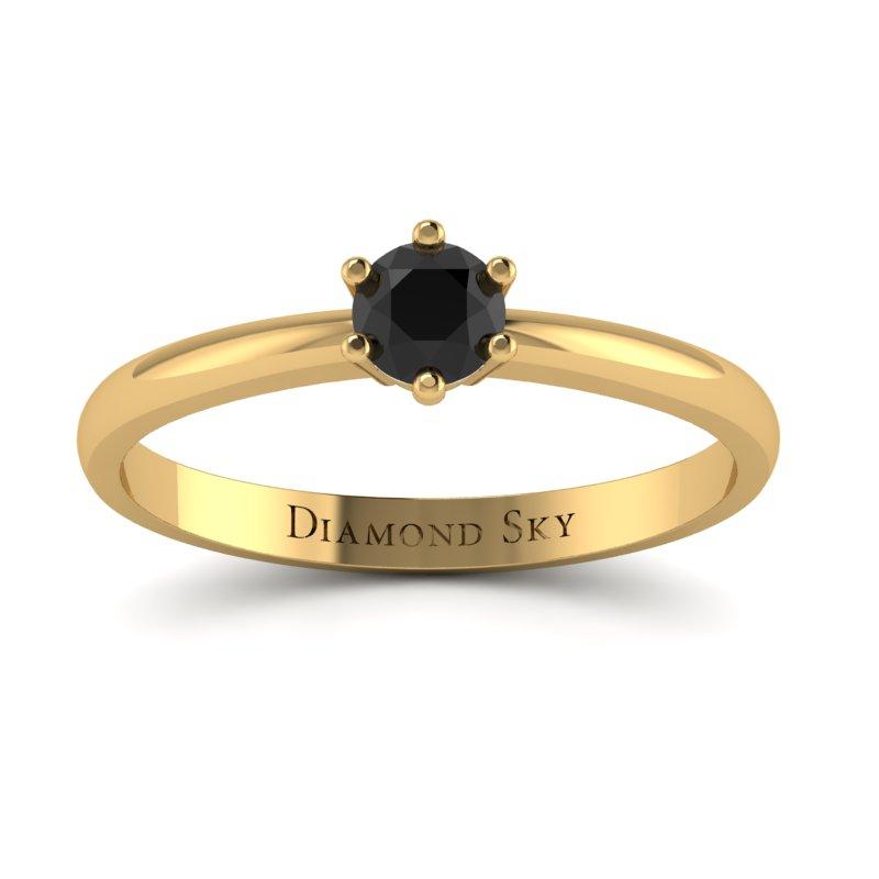Klasyczny minimalizm - Pierścionek zaręczynowy z żółtego złota z czarnym brylantem
