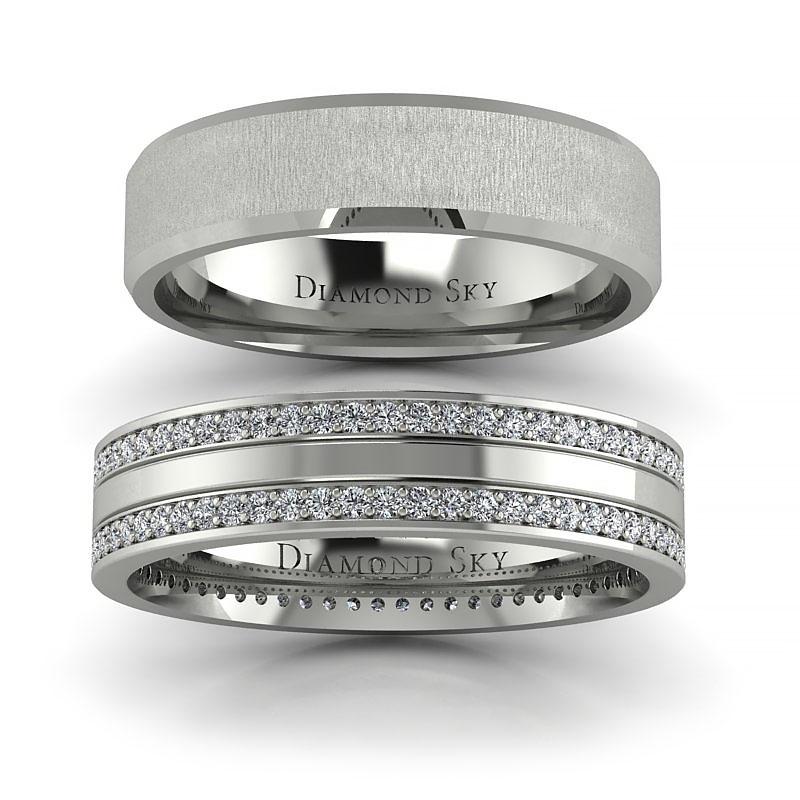 Niepowtarzalny szyk - Obrączki ślubne, białe złoto, diamenty