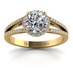 Współczesna forma - Pierścionek zaręczynowy z żółtego złota z brylantem 0,80 ct SI1/H