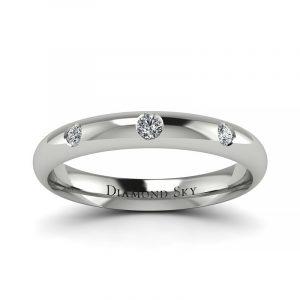 Minimalistyczne dopasowanie - Półokrągła obrączka ślubna z diamentami, białe złoto, 3mm