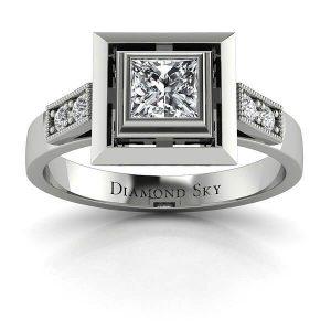 Piękno princessy - Pierścionek zaręczynowy z palladu z diamentem 0,50 ct SI1/H