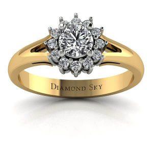 Wiosenny urok - Pierścionek zaręczynowy z żółtego i białego złota z brylantem 0,27 ct P1/G i diamentami