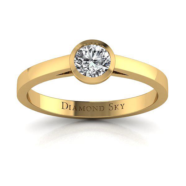 Współczesny minimalizm - Pierścionek zaręczynowy z żółtego złota z brylantem 0,25 ct SI2/G