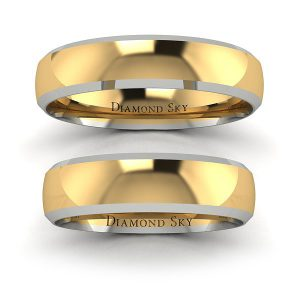 Ponadczasowy model - Komplet półokrągłych obrączek z dwukolorowego złota, 3,5mm, 5mm