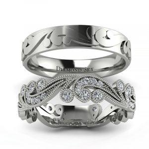 Naturalne piękno - Komplet obrączek ślubnych Diamond Sky z białego złota z diamentami