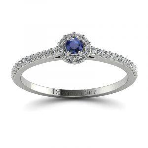 Nieprzemijający blask - Pierścionek zaręczynowy z białego złota z szafirem 0,055 ct i diamentami