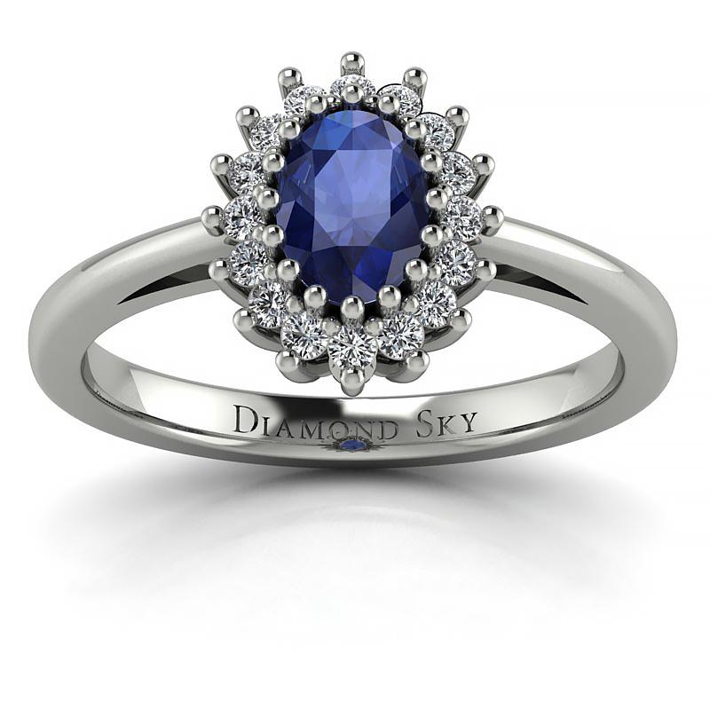 Pełny wdzięk - Pierścionek zaręczynowy z białego złota z szafirem 0,36 ct i diamentami