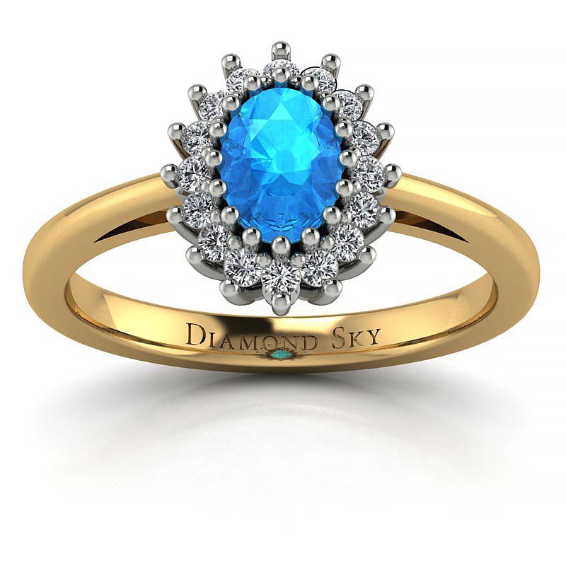 Pełny wdzięk - Pierścionek zaręczynowy z dwukolorowego złota z topazem i cyrkoniami