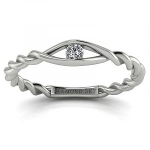 Nowa klasyka - Pierścionek zaręczynowy z białego złota z diamentem 0,10 ct SI1/H