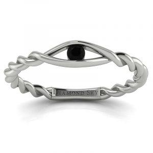 Nowa klasyka - Pierścionek zaręczynowy z białego złota z czarnym diamentem 0,10 ct