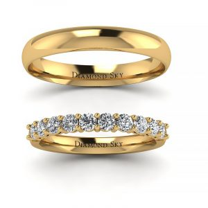 Uroczysty blask - Obrączki ślubne z żółtego złota z brylantami 0,65 ct SI1/H, 2,6mm, 3,5mm