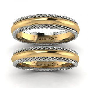 Wielka namiętność - Obrączki ślubne z dwukolorowego złota, 3mm, 4mm