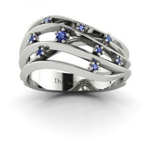 Szlachetne piękno - Pierścionek Diamond Sky, białe złoto, szafiry 0,10 ct