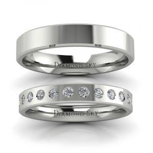 Klasyczna kolekcja - Płaskie obrączki ślubne z palladu z diamentami