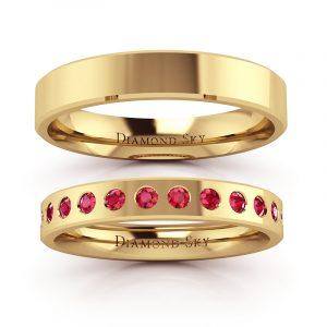 Klasyczna kolekcja - Obrączki ślubne z żółtego złota z rubinami 0,20 ct, 3mm, 4mm