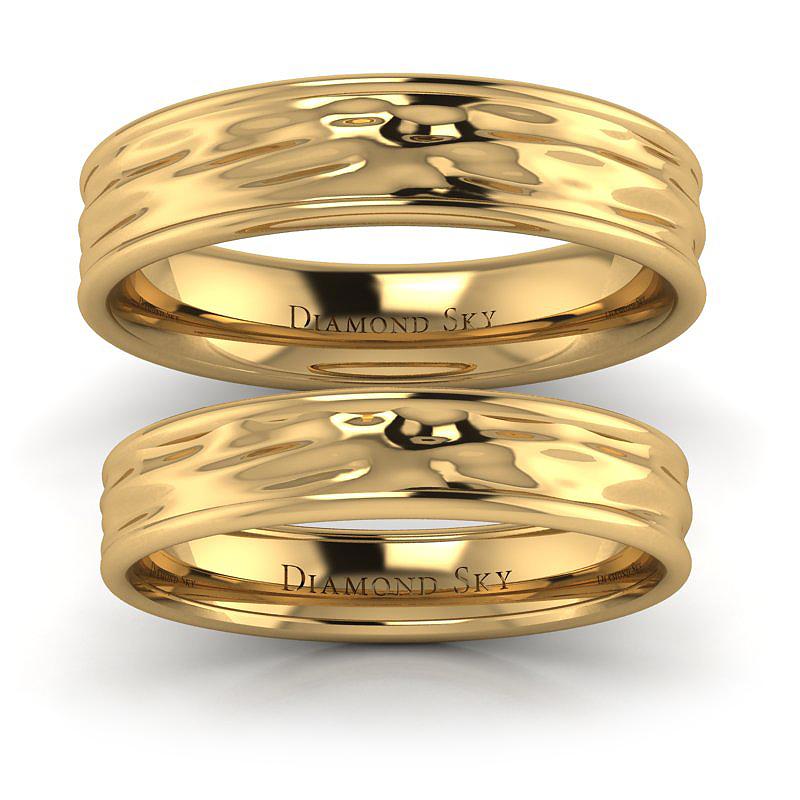 Tafla wody - Nowoczesne obrączki ślubne z żółtego złota, 4mm, 5mm