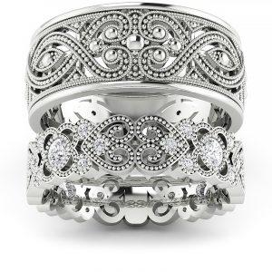 Blask serca - Ażurowe obrączki ślubne z białego złota z diamentami 0,44 ct SI1/H, 5,5mm, 8mm