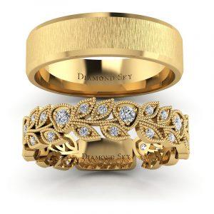 Naturalne piękno - Obrączki ślubne z żółtego złota z białymi szafirami 0,40 ct, 5mm, 6mm
