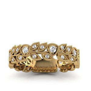 Naturalne piękno - Obrączka ślubna z żółtego złota z białymi szafirami