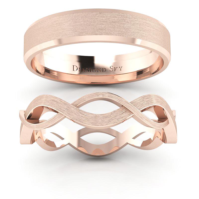 Związani miłością - Komplet obrączek z różowego złota, mat, 4,5mm, 6mm