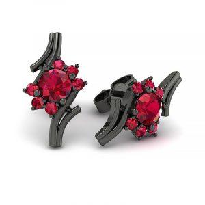 Kwitnące piękno - Kolczyki Diamond Sky z czarnego złota z rubinami