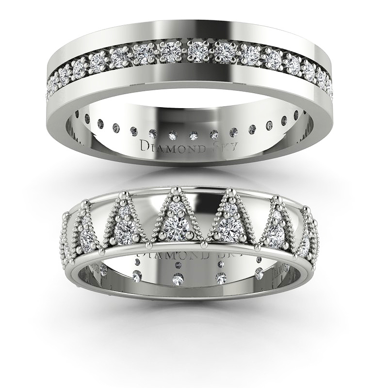 Tajemniczość diamentów - Obrączki ślubne z białego złota z diamentami