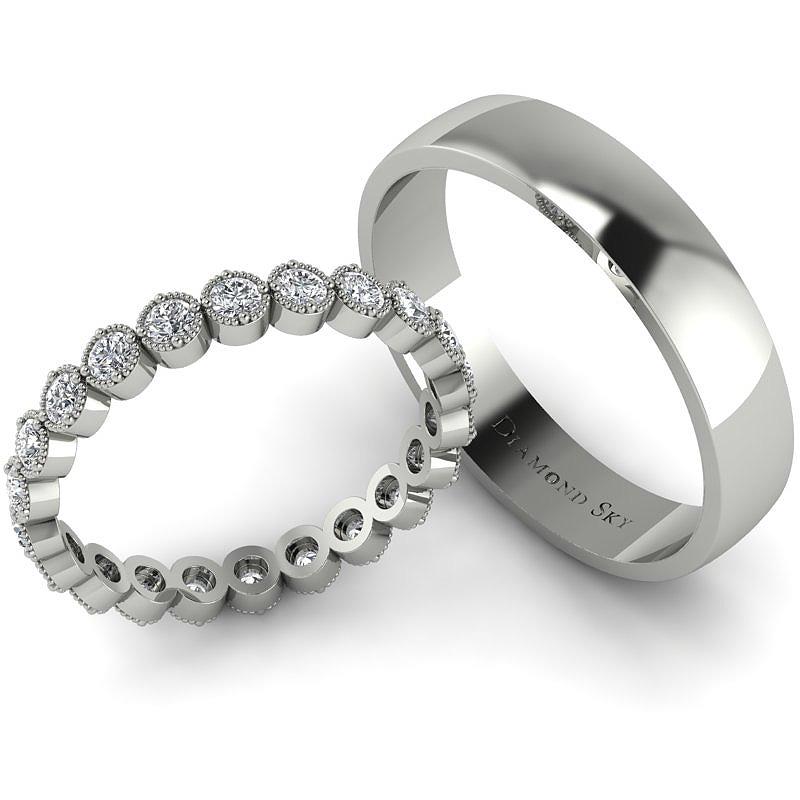 Diamentowy blask - Obrączki ślubne Diamond Sky, białe złoto, diamenty