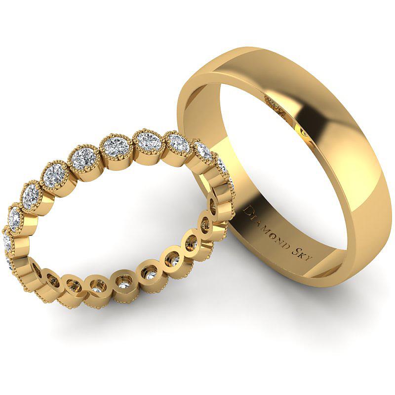Diamentowy blask - Komplet obrączek z żółtego złota z brylantami 0,66 ct SI1/H, 3mm, 4,5mm