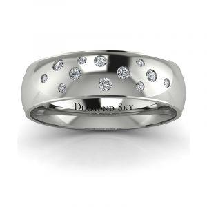 Diamentowe niebo - Półokrągła obrączka z białego złota z brylantami