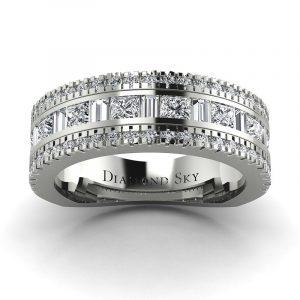 Diamentowy błysk - Obrączka ślubna Diamond Sky, białe złoto, diamenty