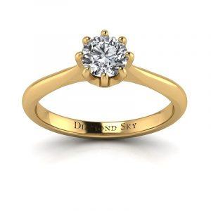 Wyjątkowa klasyka - Pierścionek zaręczynowy z żółtego złota z diamentem 0,50 ct SI2/I
