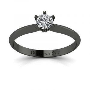 Czarujący minimalizm - Klasyczny pierścionek zaręczynowy z czarnego złota z diamentem 0,32 ct SI1/H