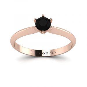 Czarujący minimalizm - Pierścionek Diamond Sky z różowego złota z czarnym diamentem 0,25 ct