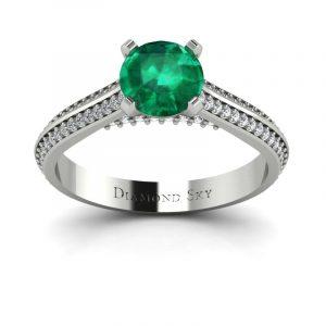 Piękna linia - Pierścionek zaręczynowy Diamond Sky, pallad, szmaragd 0,86 ct