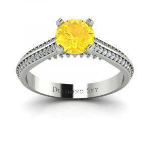 Piękna linia - Pierścionek zaręczynowy z białego złota z cytrynem 0,86 ct