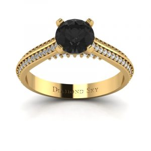 Piękna linia - Pierścionek zaręczynowy z żółtego złota z czarnym diamentem 0,86 ct i diamentami
