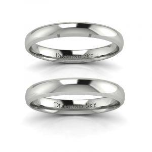 Klasyczne piękno - Półokrągłe obrączki ślubne z białego złota, 3mm