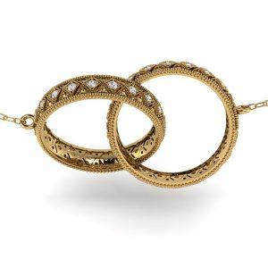 Naturalne piękno - Komplet zawieszek z żółtego złota z białymi szafirami 0,80 ct, 4mm