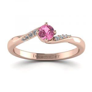 Brylantowy czar - Pierścionek Diamond Sky, różowe złoto, różowy szafir, diamenty